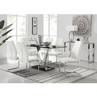 Florini Black Glass And Chrome Metal Dining Table And 6 White Lorenzo Dining Chairs Set