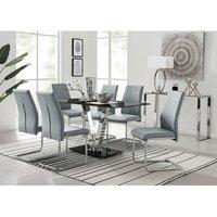 Florini Black Glass And Chrome Metal Dining Table And 6 Elep