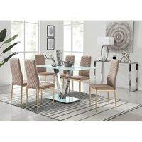 Furniturebox Uk - Florini V White Dining Table and 6 Cappuccino Gold Leg Milan Chairs