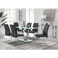 Florini White Glass And Metal V Dining Table And 6 Black Lorenzo Dining Chairs Set