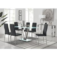 Furniturebox Uk - Florini White Glass And Metal V Dining Table And 6 Black Milan Dining Chairs Set