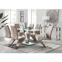 Florini White Glass And Metal V Dining Table And 6 Cappuccino Grey Willow Dining Chairs Set
