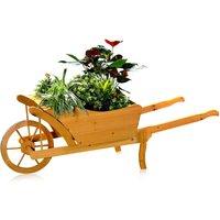 flower cart planting wheelbarrow garden wood planting trough