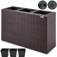 Poly Rattan Plant Flower Pot 83x30.5x60cm Black Brown Cream Outdoor Garden Brown - Deuba