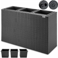 Poly Rattan Plant Flower Pot 83x30.5x60cm Black Brown Cream Outdoor Garden Black - Deuba
