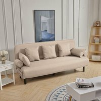 Livingandhome - Fold Out Sofa Bed Armchair Guest Double Beds Lounge Chair Adjustable Free Pillow Khaki