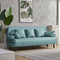 Livingandhome - Fold Out Sofa Bed Armchair Guest Double Beds Lounge Chair Adjustable Free Pillow Light Blue