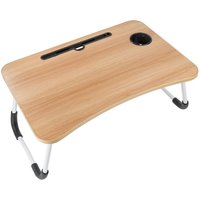 Augienb - Foldable Desk Laptop Stand Bed Tray Table W/ Tablet Slot Cup Holder 60X40X28cm walnut