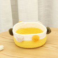 Foldable Laundry Basket Toy Storage Clothes Basket Laundry Basket Cotton Hairballs (Yellow and White)