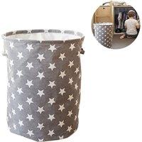 Zqyrlar - Foldable Laundry Basket Waterproof Round Laundry Box Kids Toy Organizer Storage Bag with Handle Gray