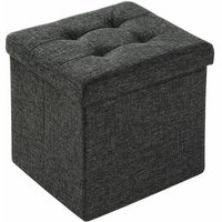 Foldable ottoman made of polyester with storage space - storage ottoman, shoe storage bench, hallway bench - dark grey