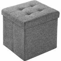 Foldable ottoman made of polyester with storage space - storage ottoman, shoe storage bench, hallway bench - gris claro