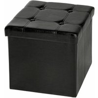 Foldable ottoman made of synthetic leather with storage space - storage ottoman, shoe storage bench, hallway bench - negro