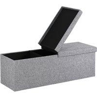 Ottoman Storage Bench Foldable Faux Leather Chest Toy Shoe Box Hallway Bedroom XL - Hellgrau (de)