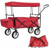 Garden trolley with roof foldable incl. carry bag - garden cart, beach trolley, trolley cart - red - TECTAKE