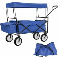 Garden trolley with roof foldable incl. carry bag - garden cart, beach trolley, trolley cart - blue - TECTAKE
