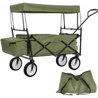 Garden trolley with roof foldable incl. carry bag - garden cart, beach trolley, trolley cart - green - TECTAKE
