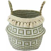 Foldable Seagrass Woven Basket Flower Plants Pots Storage Bag Home Decor Garden 27X24X23CM
