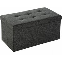 Foldable storage bench made of polyester - storage ottoman, shoe storage bench, hallway bench - dark grey - TECTAKE