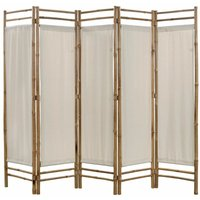 Folding 5-Panel Room Divider Bamboo and Canvas 200 cm - YOUTHUP