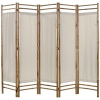 Betterlifegb - Folding 5-Panel Room Divider Bamboo and Canvas 200 cm31133-Serial number