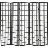 Zqyrlar - Folding 5-Panel Room Divider Japanese Style 200x170 cm Black - Black
