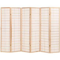 Youthup - Folding 6-Panel Room Divider Japanese Style 240x170 cm Natural