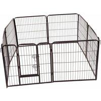Folding 8 Panel Pet Dog Rabbit Run Play Pen Whelping Cage Enclosure Fence 80 x 77cm