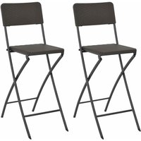 Folding Bar Chairs 2 pcs HDPE and Steel Brown Rattan Look - Brown