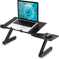 Briday - Folding Bed Table, Adjustable Table, PC Sofa Tray Breakfast Bed Shelf Bed, Lapdesk 360 ° Tilting Laptop Stand Book