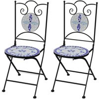 Youthup - Folding Bistro Chairs 2 pcs Ceramic Blue and White