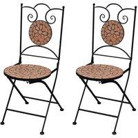Folding Bistro Chairs 2 pcs Ceramic Terracotta - Brown
