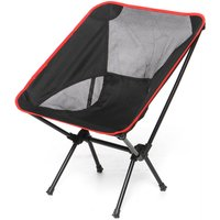 Insma - Folding Chair Large For Outdoor Camping Barbecue Picnic Black Fishing