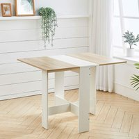Livingandhome - Folding Dining Table Wooden Drop-Leaf Desk Compact Kitchen Living Room Furniture
