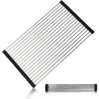 Folding dish rack | Heavy Duty Stainless Steel Dish Drainer for Dishes, Plates, Cups, Bottles (Black)
