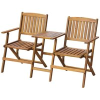 Folding Garden Bench with Tea Table 140 cm Solid Acacia Wood - YOUTHUP