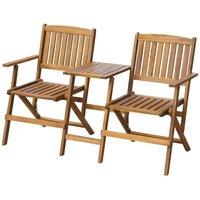 Zqyrlar - Folding Garden Bench with Tea Table 140 cm Solid Acacia Wood - Brown