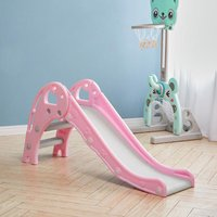Folding Kids Toddler Climber Slide Set Indoor/Outdoor Playground,Pink