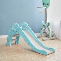 Folding Kids Toddler Climber Slide Set Indoor/Outdoor Playground,Blue