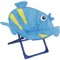 Folding Moon Chair Camping Garden Soft Seat Saucer Chair Blue Fish