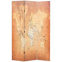 Betterlifegb - Folding Room Divider 120x170 cm World Map Yellow11087-Serial number