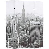 Zqyrlar - Folding Room Divider 160x170 cm New York by Day Black and White - Multicolour