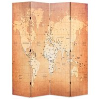 Folding Room Divider 160x170 cm World Map Yellow - YOUTHUP