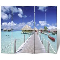 Folding Room Divider 200x170 cm Beach - YOUTHUP