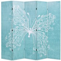 Betterlifegb - Folding Room Divider 200x170 cm Butterfly Blue11097-Serial number
