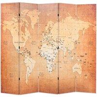 Betterlifegb - Folding Room Divider 200x170 cm World Map Yellow11089-Serial number
