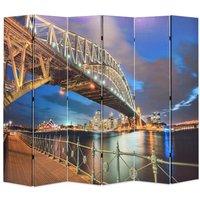Folding Room Divider 228x170 cm Sydney Harbour Bridge - Multicolour