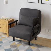 Folding Sofa Bed Armchair Guest Single Beds Lounge Chair Adjustable Free Pillow, Grey