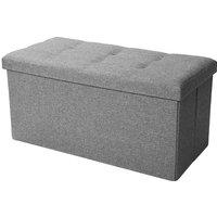 Folding Storage Bench Ottoman Hoome Bedroom Footstools Seat multifunctional foldable(Grey 76x38x38cm)