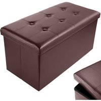 Folding Storage Ottoman Bench, 76 x 38 x 38cm Leather Seat Foot Stool Storage Box with Lids for Bedroom Hallway Living Room (Brwon)